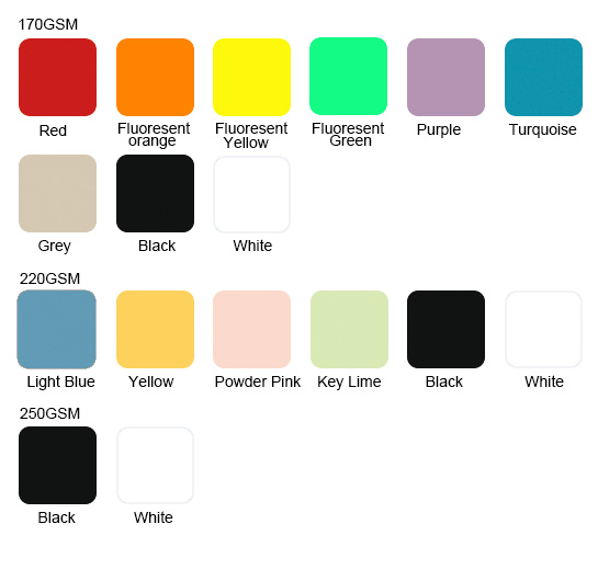 Available Colors for 100%polyester