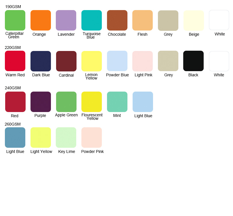 Available Colors for 8020 blend